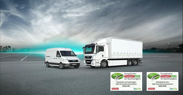 """MAN eTGE e MAN eTGM vencem o """"Prémio europeu de sustentabilidade no transporte 2020"""""""