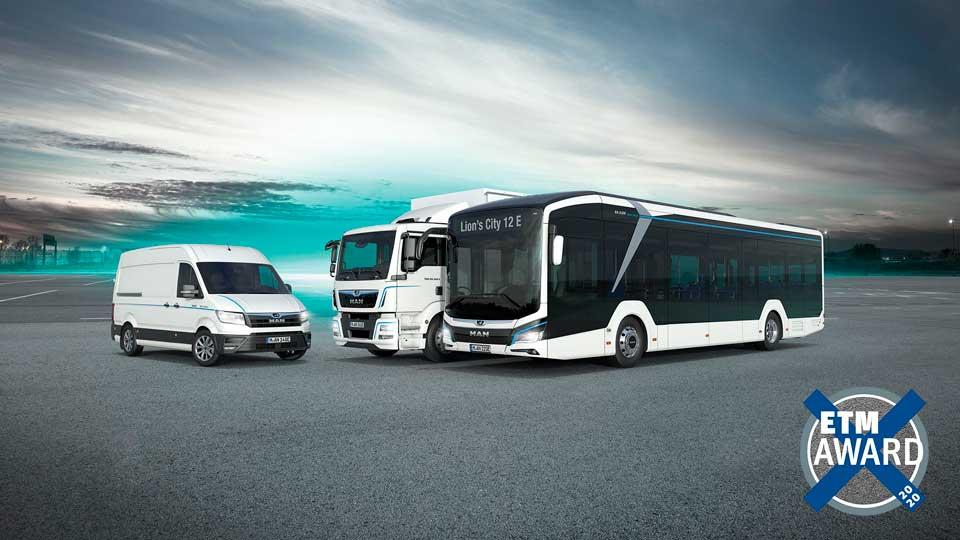 Melhor Camião, Melhor Carrinha e Melhor Autocarro: a MAN ganha dez dos cobiçados prémios na ETM Awards 2020
